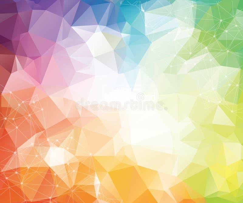 几何五颜六色的多角形背景分子和通信 与小点的被连接的线 简单派背景 t的概念 皇族释放例证