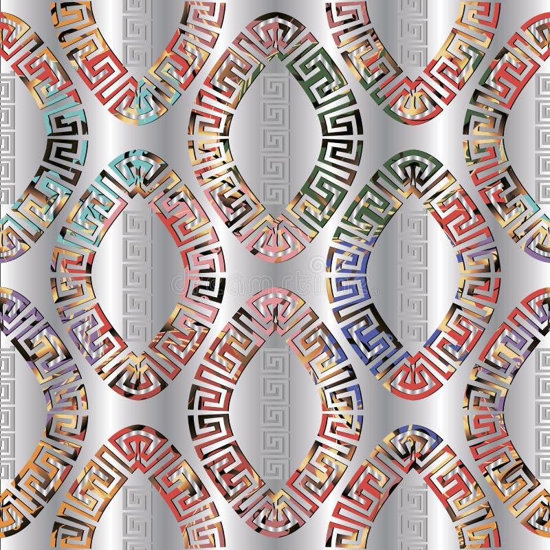几何五颜六色的希腊长圆形塑造无缝的样式 银色装饰3d传染媒介背景 希腊关键河曲摘要 向量例证