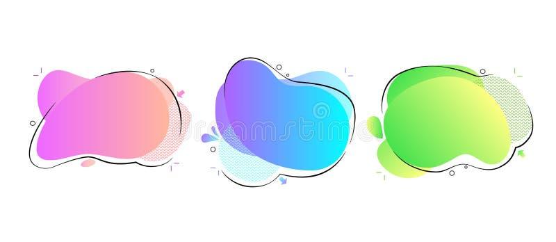 几何五颜六色的抽象液体形状集合 时髦可变的设计 梯度波浪设计被隔绝的白色背景 ?? 库存例证