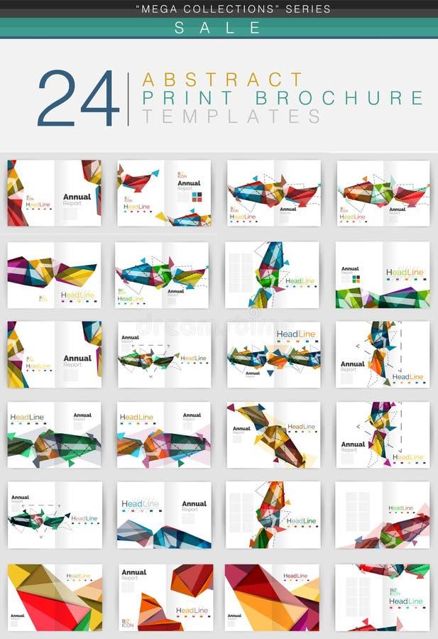 几何企业小册子或传单盖子设计模板的兆收藏 向量例证