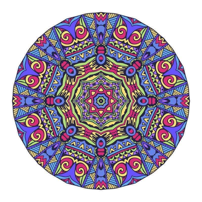 几何传染媒介坛场 抽象五颜六色的圈子背景 库存例证
