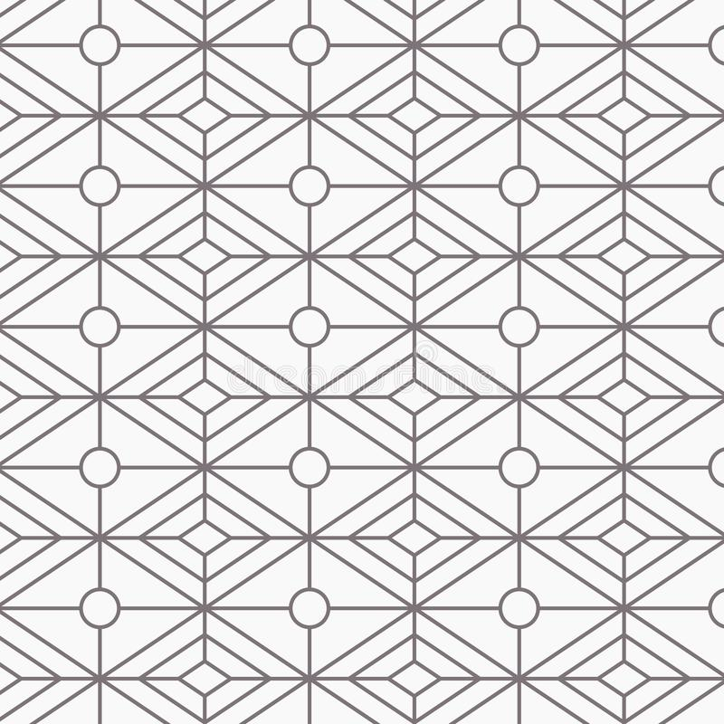 几何传染媒介样式,重复与卵形形状的线性金刚石形状在中心 图表为墙纸,织品清洗 向量例证
