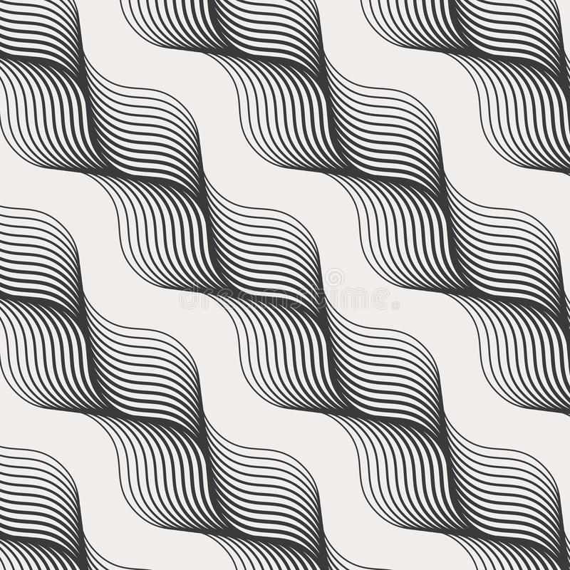 几何传染媒介样式,重复抽象对角头发编织,单色样式 图表为墙纸,织品清洗 向量例证