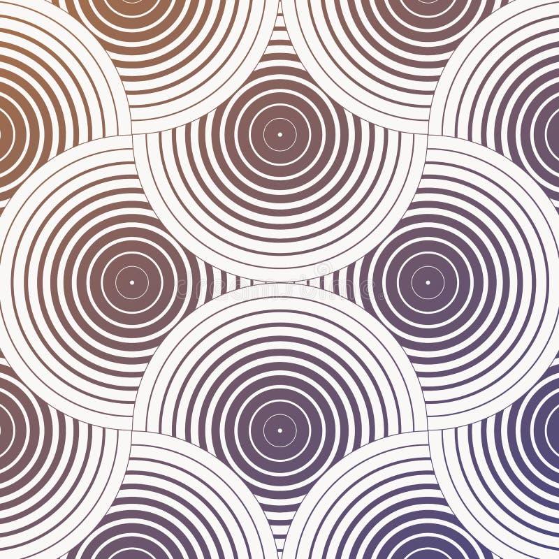 几何传染媒介样式,重复线性圈子重和稀薄的线交叠其中每一 图表为织品清洗 向量例证