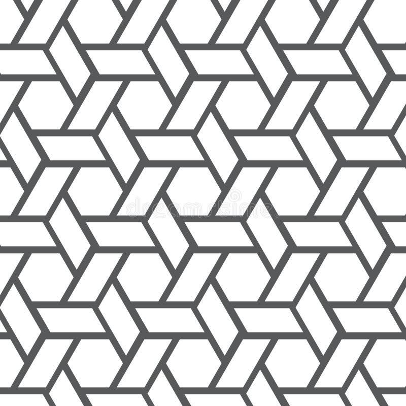 几何传染媒介样式,重复线性条纹菱形形状连接了其中每一,抽象星,花,立方体 皇族释放例证