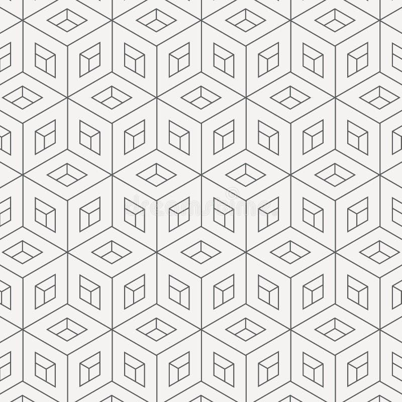 几何传染媒介样式,重复线性条纹菱形形状连接了其中每一,抽象立方体,窗口,被抠出 库存例证