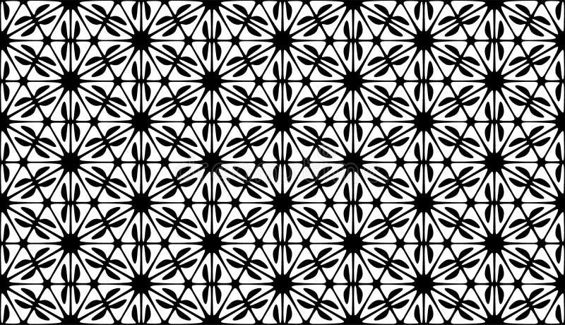 几何六角形,黑白抽象无缝的样式 向量例证