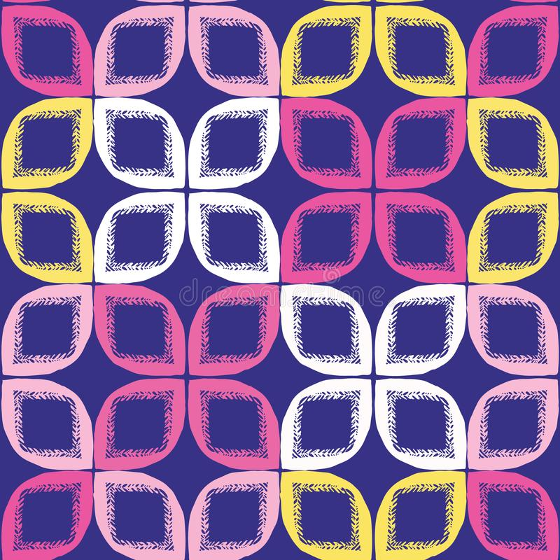 几何减速火箭的叶子正方形塑造无缝的样式 在印刷品传染媒介背景 俏丽的夏天20世纪50年代缝制块时尚 图库摄影