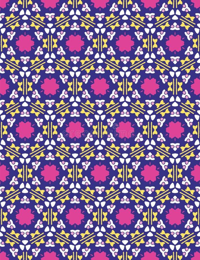 几何减速火箭的方形的雏菊无缝的样式 在印刷品传染媒介背景 夏天马赛克20世纪50年代缝制瓦片时尚样式 图库摄影