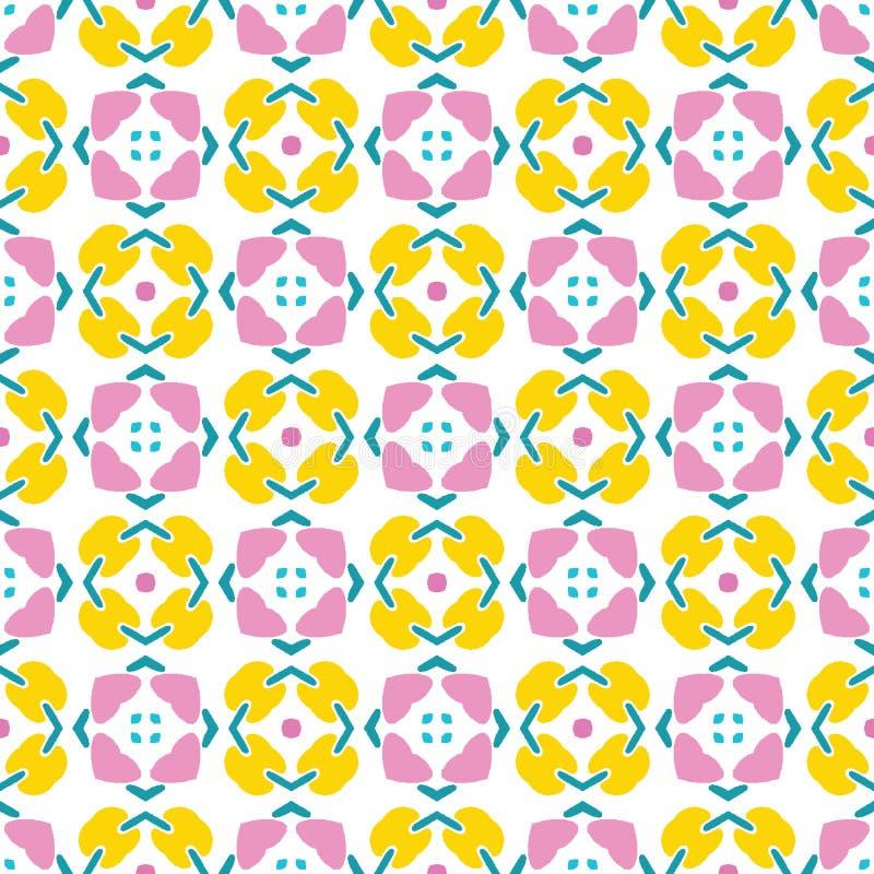 几何减速火箭的正方形塑造无缝的样式 在印刷品传染媒介背景 俏丽的夏天20世纪50年代缝制瓦片时尚样式 向量例证