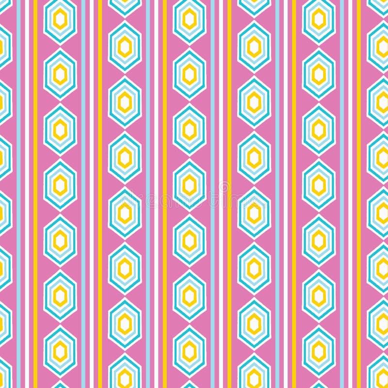 几何减速火箭的diamon形状无缝的样式 在印刷品传染媒介背景 夏天20世纪50年代垂直条纹时尚样式 向量例证