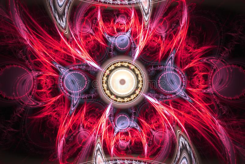 几何分数维形状可能说明作白日梦的想象力荧光的空间梦想不可思议的核爆炸频率样式 免版税库存照片