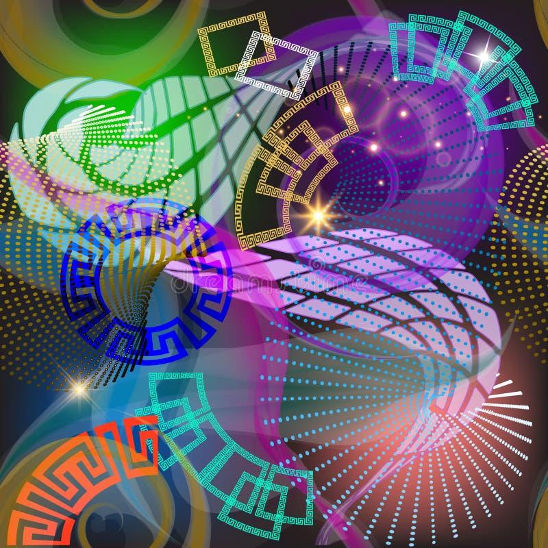 几何发光的3d希腊传染媒介无缝的样式 与几何形状,圈子,正方形的现代抽象发光的背景, 向量例证