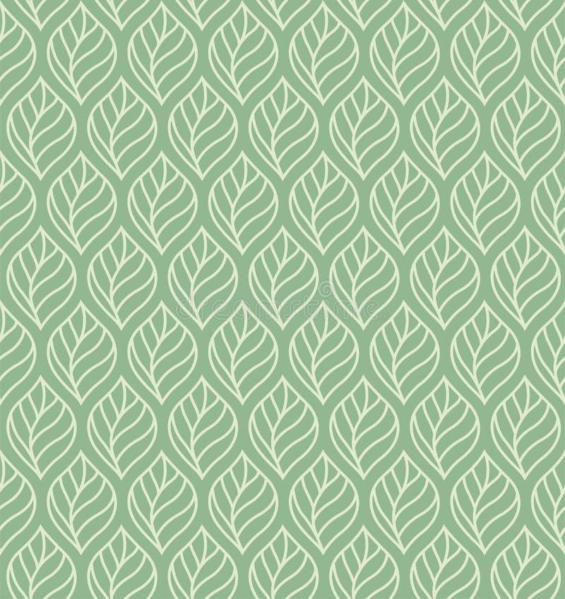 几何叶子传染媒介无缝的样式 抽象传染媒介纹理 叶子背景 向量例证