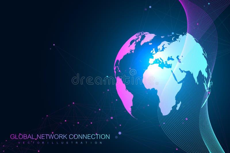 几何图表背景通信 覆盖计算和全球网络连接构思设计 大数据 向量例证