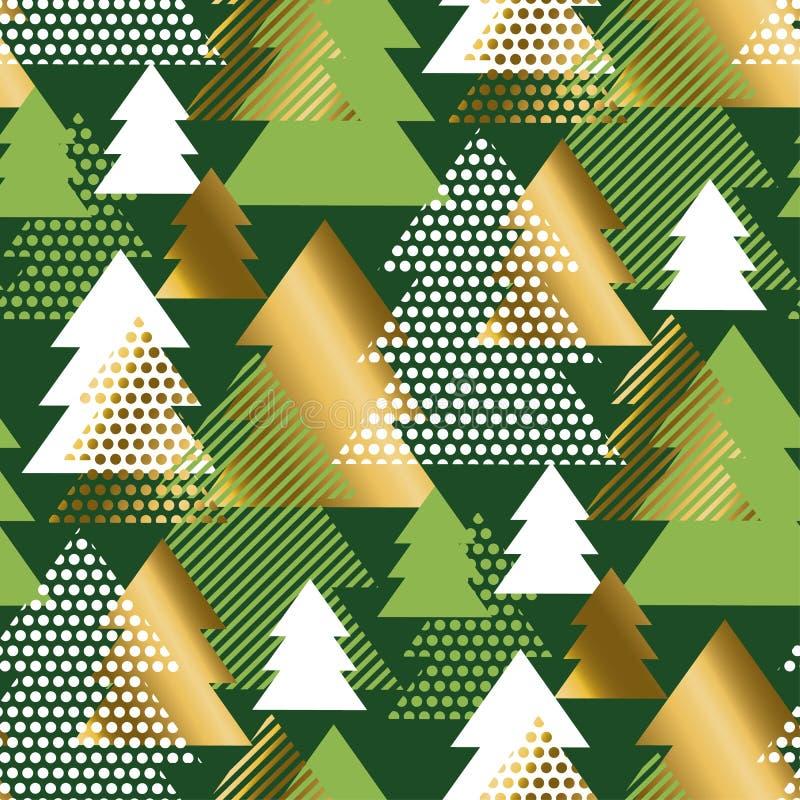 几何圣诞树豪华无缝的样式 皇族释放例证