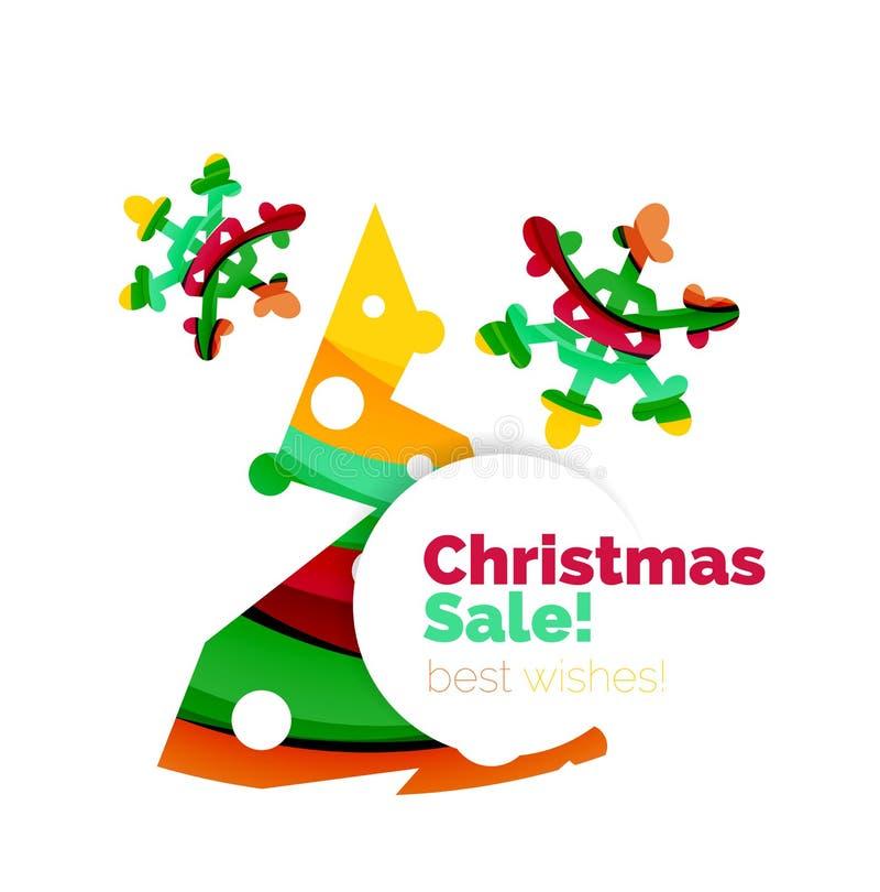 几何圣诞节销售或促进广告横幅 库存例证