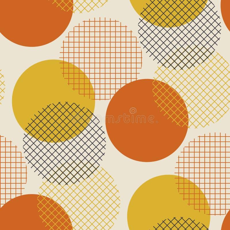 几何在减速火箭6的圈子无缝的样式传染媒介例证 库存例证