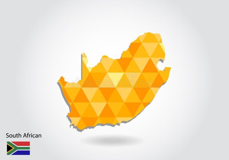 几何多角形样式传染媒介地图南非 皇族释放例证