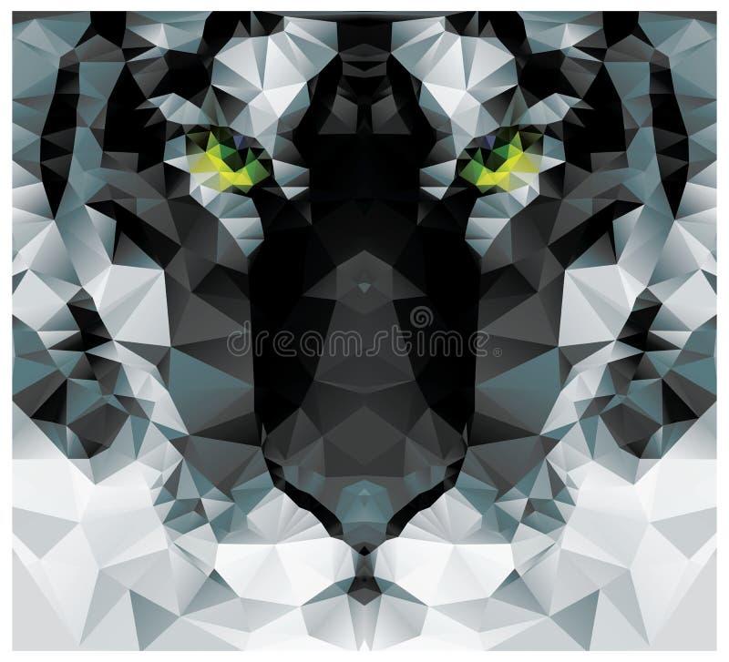 几何多角形白色老虎头,三角样式设计 向量例证