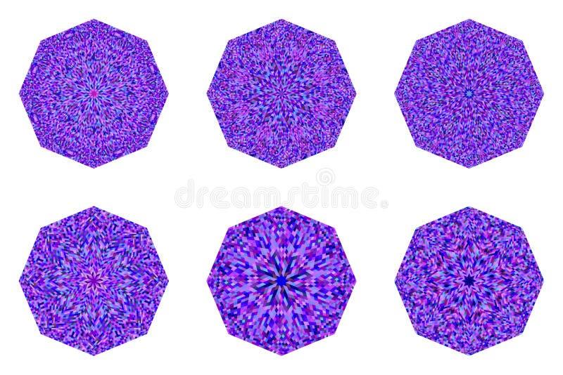 几何孤立抽象马赛克八面体标志模板集 皇族释放例证