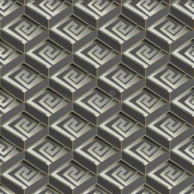 几何希腊传染媒介无缝的样式 单色抽象轻拍 向量例证