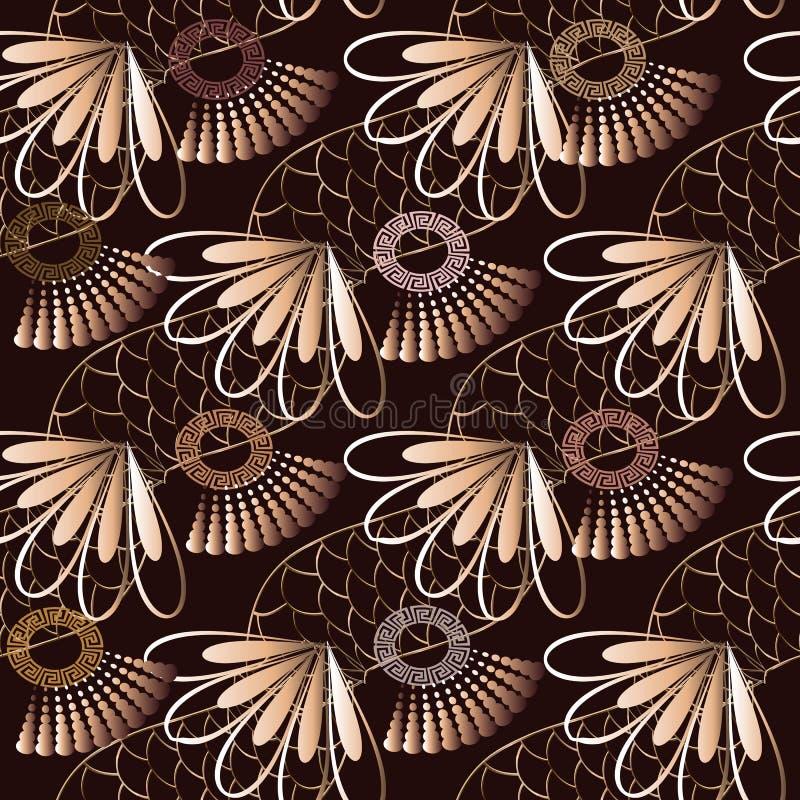 几何希腊传染媒介无缝的样式 抽象花卉backgro 皇族释放例证