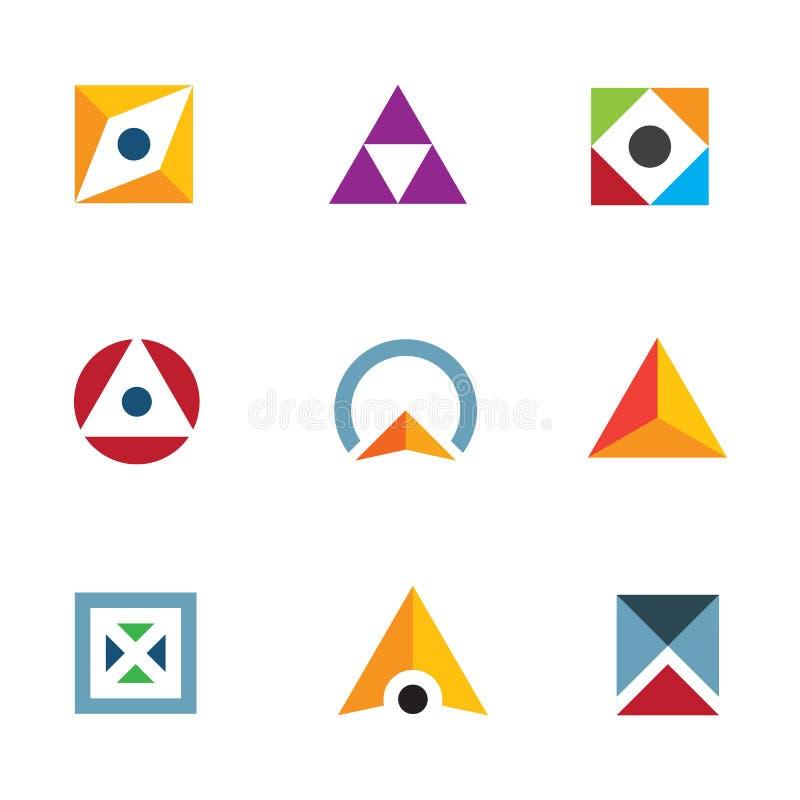 几何形状三角圈子和立方体富启示性的组合商标象 库存例证