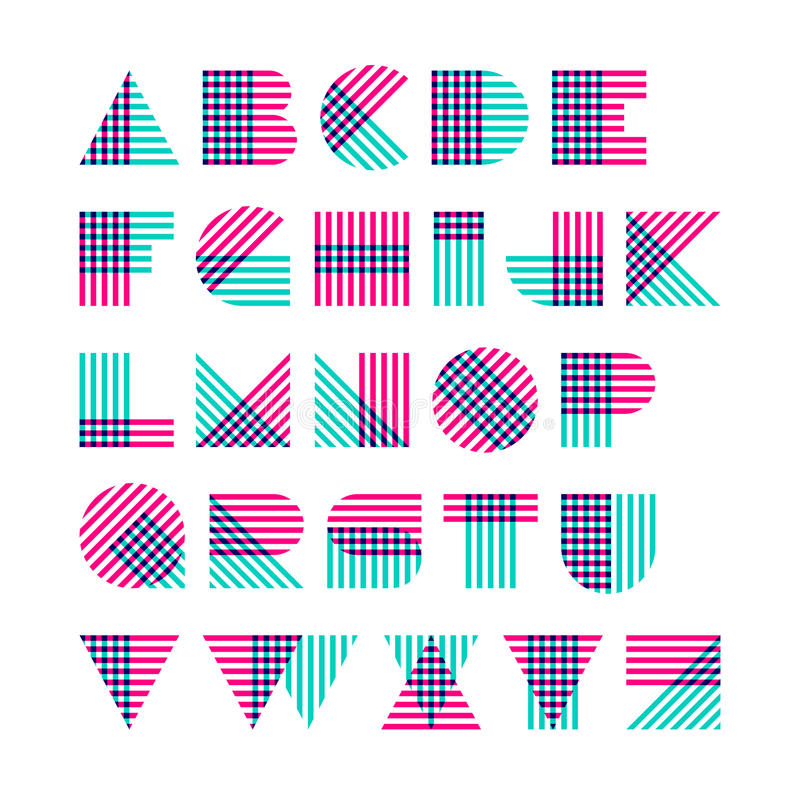 几何形状字母表由跨过的线做成 向量例证