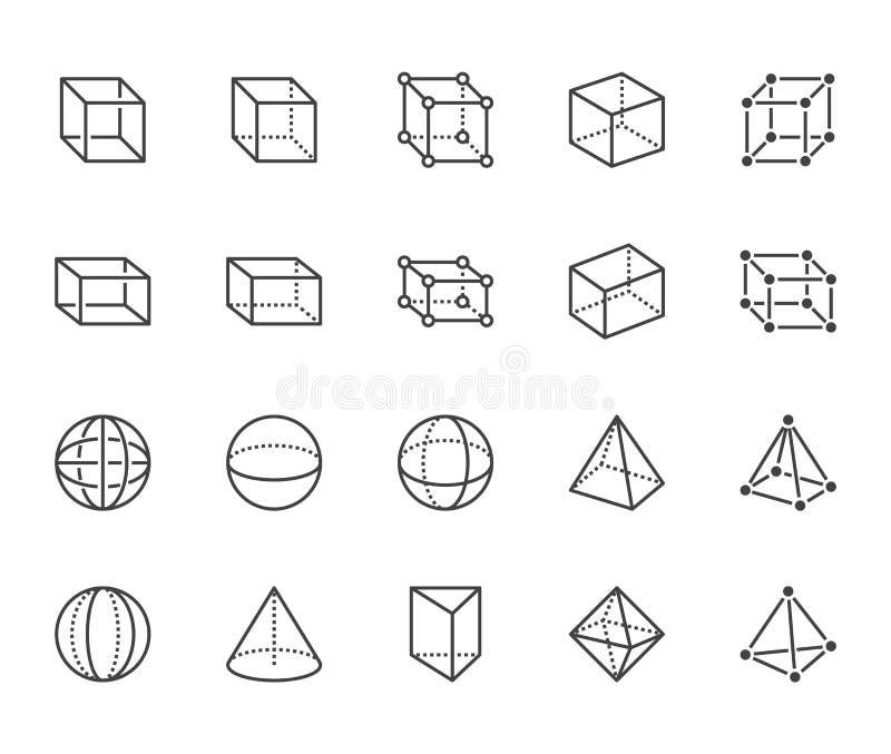 几何形状平的线象集合 抽象图立方体,球形,锥体,棱镜传染媒介例证 稀薄的标志为 库存例证