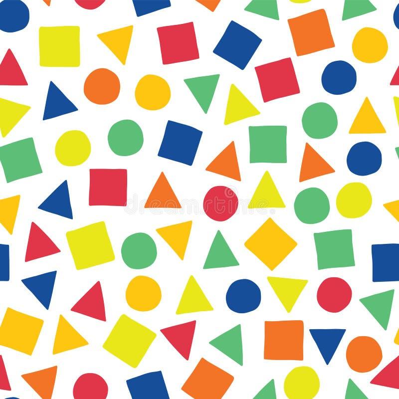 几何形状手拉的传染媒介无缝的样式 疏散正方形、三角和圈子在蓝色,橙色,红色,绿色,和 向量例证