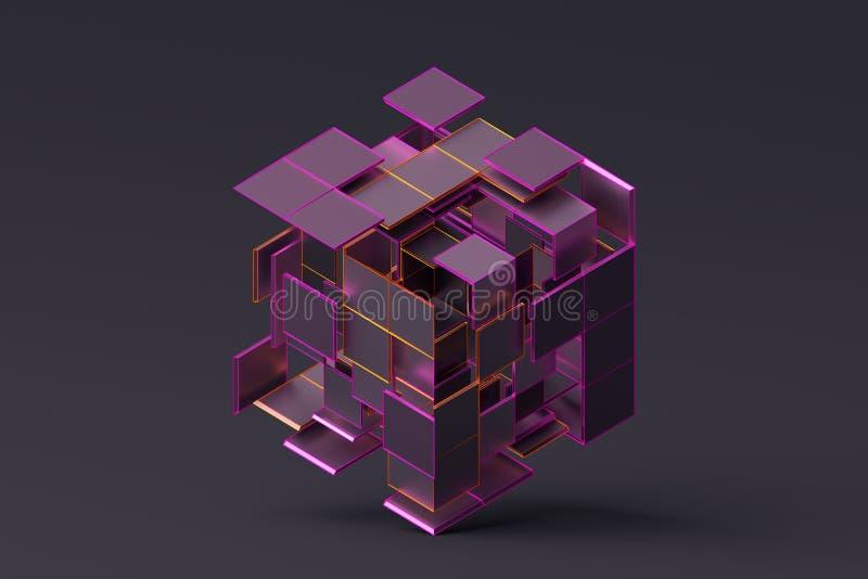 几何形状抽象3D翻译  库存例证