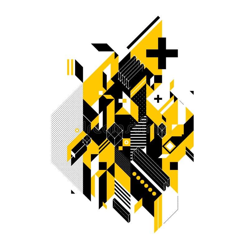 几何形状的抽象构成 向量例证