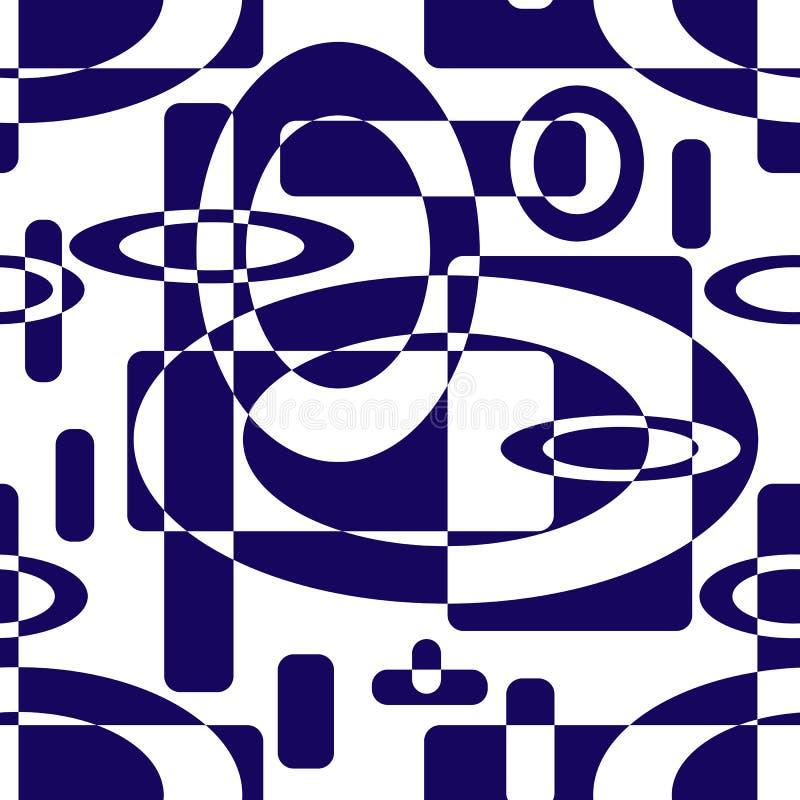 几何形状的无缝的抽象样式 蓝色在彼此叠加的圈子和长方形 向量例证