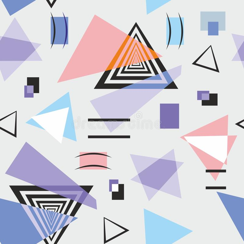 Geometric shapes, which consist of triangles on grey background 用于织物或纸的彩色无缝图案  — 矢量图 向量例证