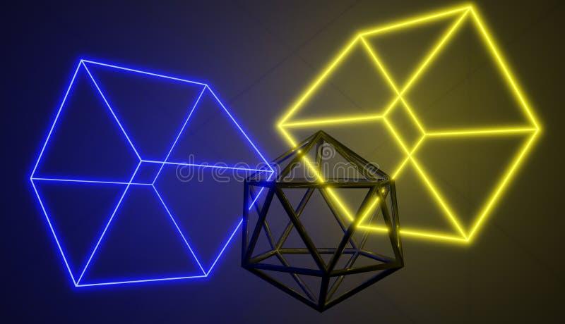 几何形状,霓虹和金属 库存例证