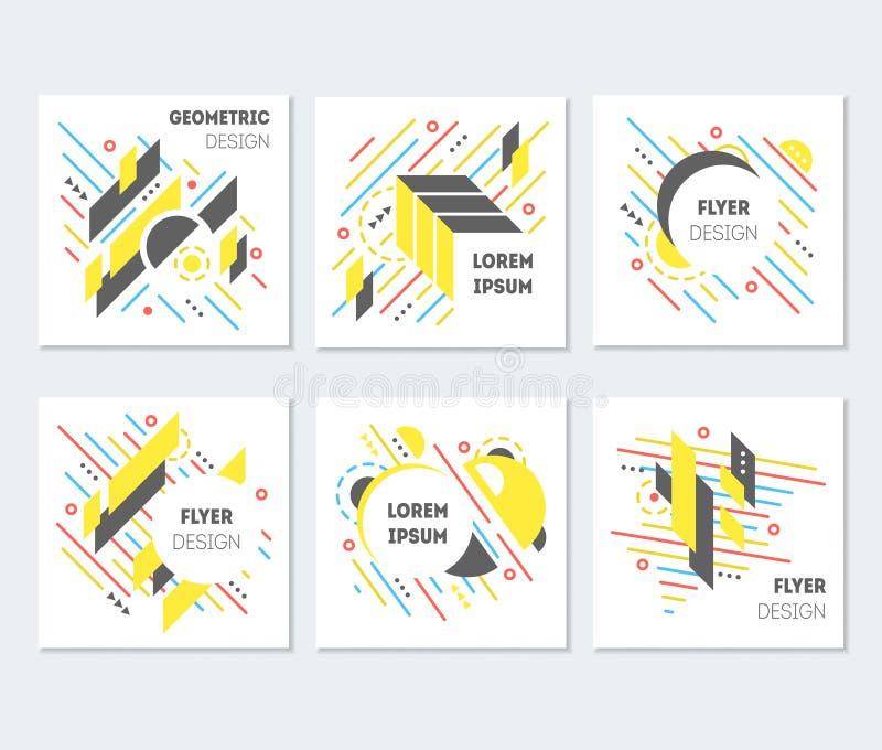 几何抽象五颜六色的飞行物海报设计集合 向量 皇族释放例证