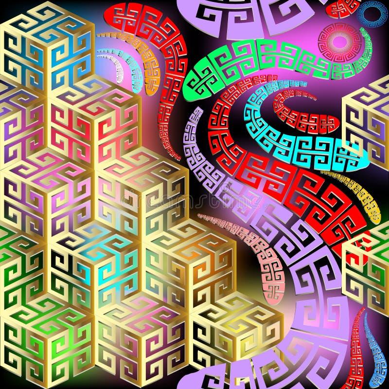 几何抽象五颜六色的3d传染媒介无缝的样式 库存例证