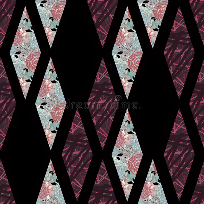几何抽象减速火箭元素菱形无缝的样式 皇族释放例证