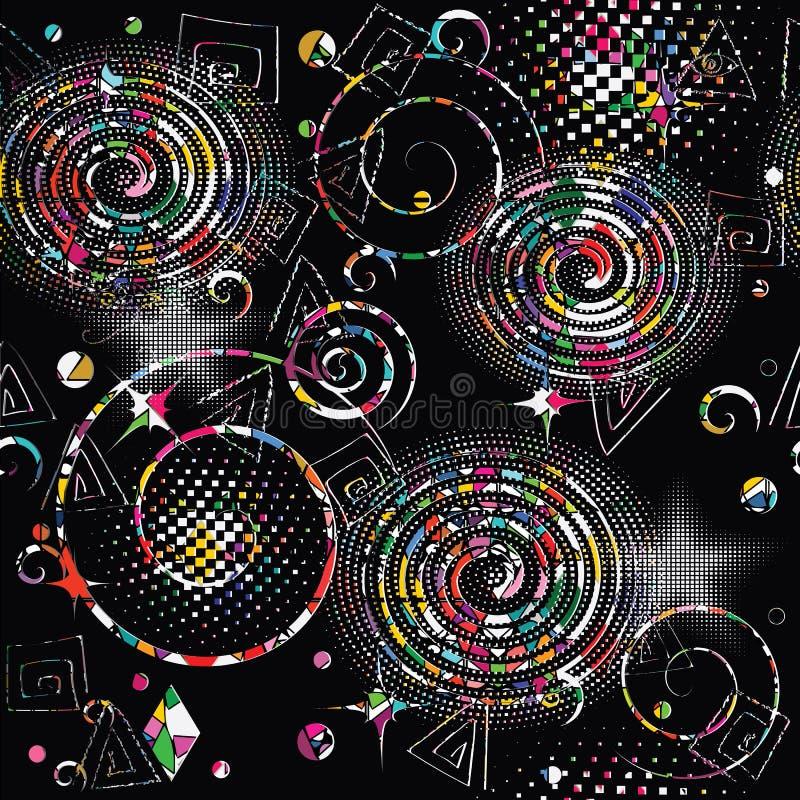几何抽象向量无缝的模式 五颜六色的被仿造的g 皇族释放例证