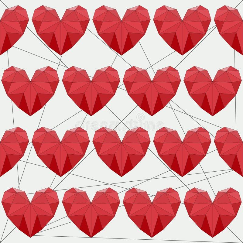 几何抽象多角形红色心脏无缝的样式背景用于情人节或婚礼的设计 向量例证