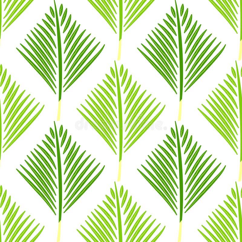 几何抽象手拉的样式 传染媒介无缝的绿色墙纸 向量例证