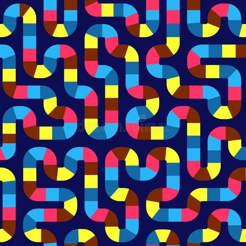 几何抽象无缝的样式背景 五颜六色的曲线 向量例证
