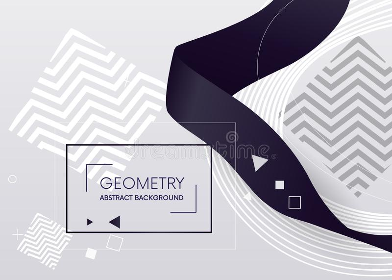 几何抽象构成 构成上色了几何形状和丝带 您的设计网的元素,横幅 库存例证