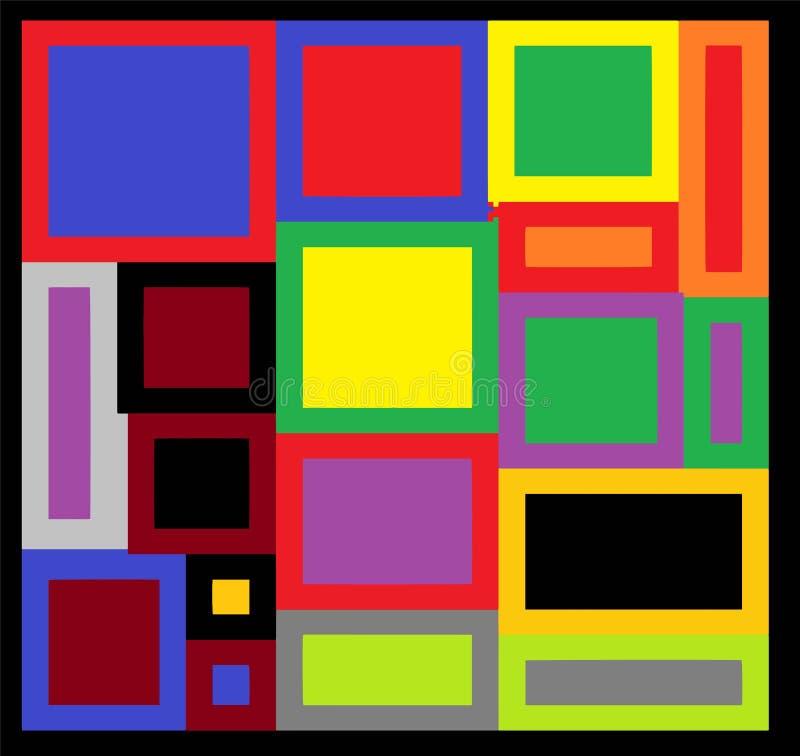 几何抽象样式 E 深蓝和金子纹理 库存例证