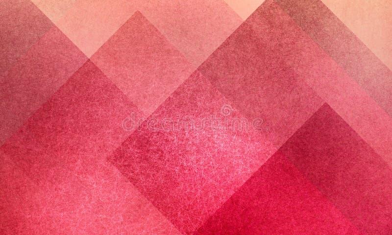 几何抽象桃红色和桃子背景样式设计与金刚石并且阻拦正方形分层堆积与纹理 皇族释放例证