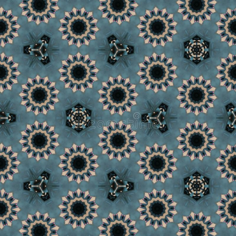 几何抽象桔子,红色,黑色,金子,与计算机控制学的微粒的蓝色,灰色数字背景 库存例证