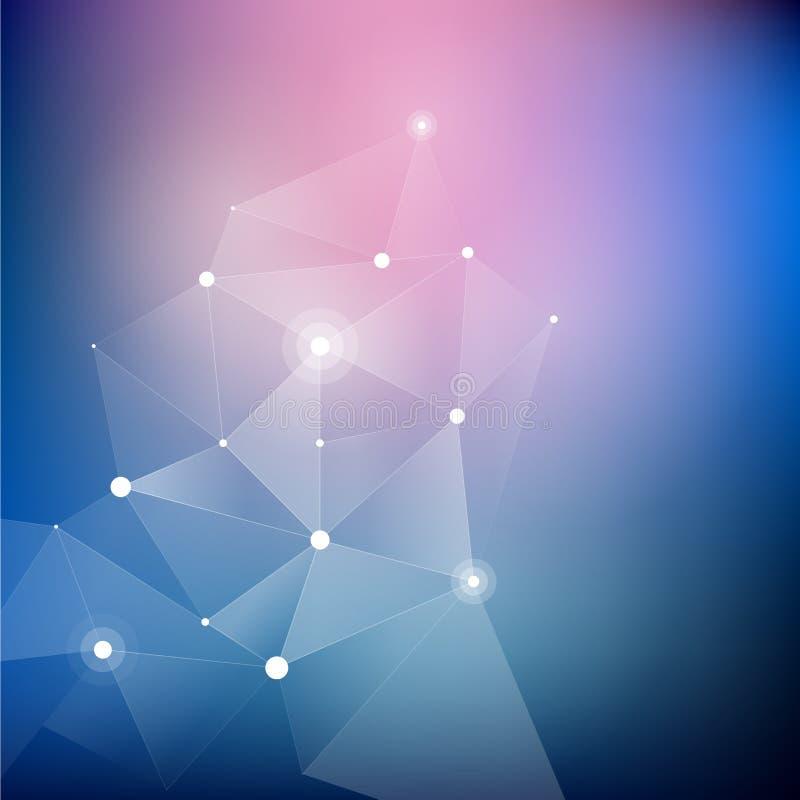 几何抽象白色多角形,分数维 向量例证