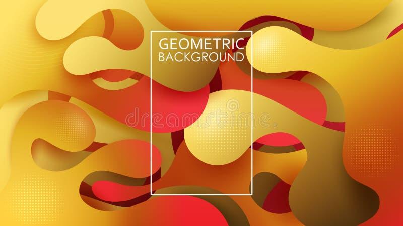 几何抽象的背景 秋天颜色 向量 充满活力的梯度 被切除的波浪纸片 库存例证