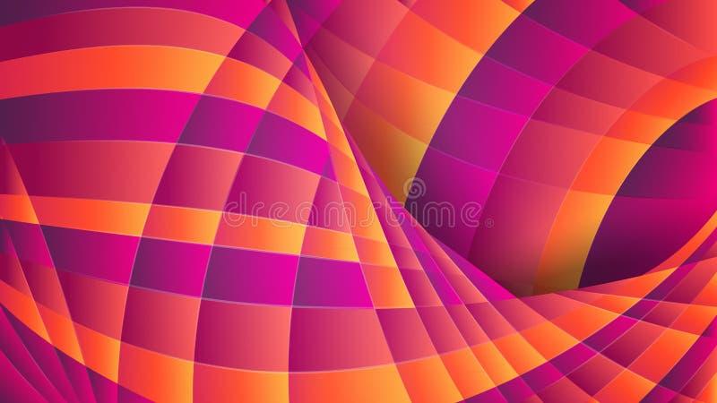 几何抽象的背景 紫罗兰色和橙色弯曲的线 动力效应 向量例证